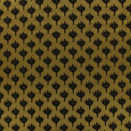 Jacquard fabric chamaerops - mustard and black x 10cm