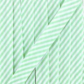 Large stripe bias binding 30mm - green