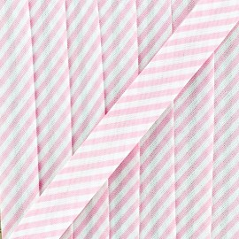 Large stripe bias binding 30mm - pink