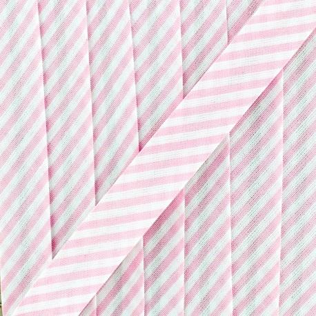 Biais grande rayure - rose x 1m