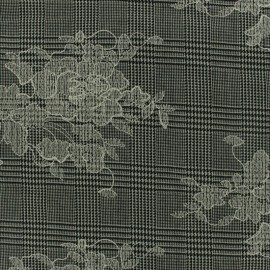 ♥ Coupon 200 cm X 150 cm ♥ Prince de galles Tailleur fabric embroidered with white flowers - grey/black