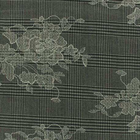 Tissu Tailleur Prince de galles brodé de fleurs - gris/noir x 20cm