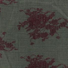♥ Coupon 20 cm X 150 cm ♥ Tissu Tailleur Prince de galles brodé de fleurs bordeaux - gris/noir