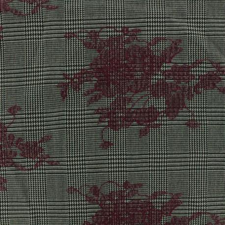 Tissu Tailleur Prince de galles brodé de fleurs bordeaux - gris/noir x 20cm