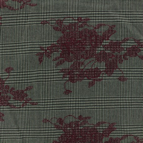 Prince de galles Tailleur fabric embroidered with burgundi flowers - grey/black x 20cm