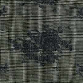 ♥ Coupon 150 cm X 150 cm ♥ Prince de galles Tailleur fabric embroidered with navy flowers - grey/black