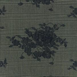 ♥ Coupon 150 cm X 150 cm ♥ Tissu Tailleur Prince de galles brodé de fleurs marine - gris/noir