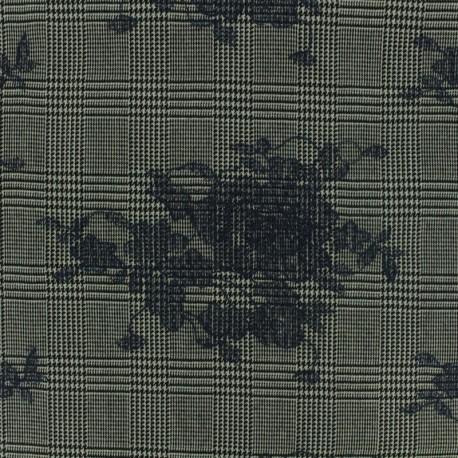 Tissu Tailleur Prince de galles brodé de fleurs marine - gris/noir x 20cm