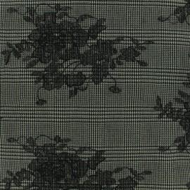 ♥ Coupon 280 cm X 150 cm ♥ Tissu Tailleur Prince de galles brodé de fleurs noir - gris/noir