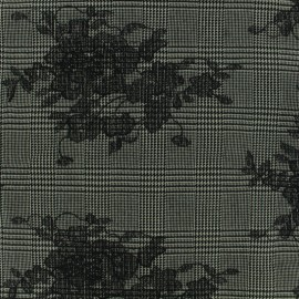 Prince de galles Tailleur fabric embroidered with black flowers - grey/black x 20cm
