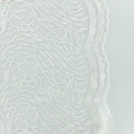 Tissu tulle brodé dentelle mariée festonnée - blanc x 10cm