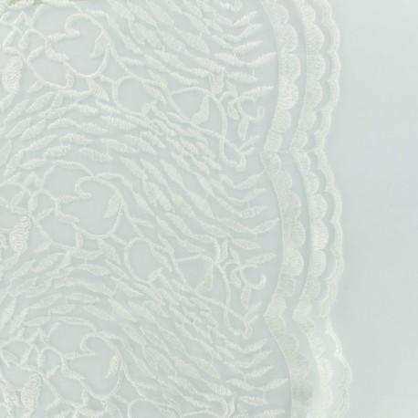 Organza fabric embroidered wedding dress - white x 10 cm