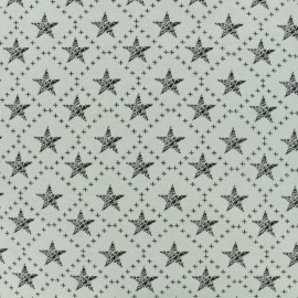 Jersey jacquard fabric Stars on square - black and white x 10cm