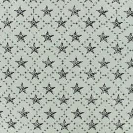 Tissu Jersey jacquard étoiles au carré - black and white x 10cm
