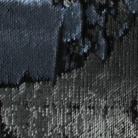 Sewn reversible sequin Fabric - black/navy x 10cm
