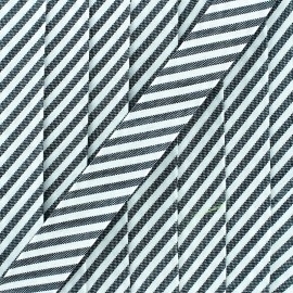 Large stripe bias binding - grey x 1m