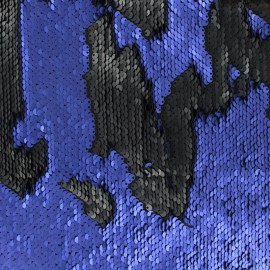 Sewn reversible sequin Fabric - black/royal x 10cm