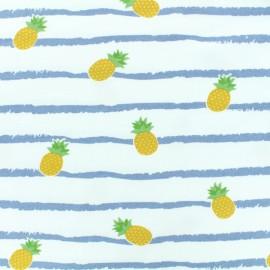 Tissu coton jersey Ananas - rayure bleu fond blanc x 10 cm