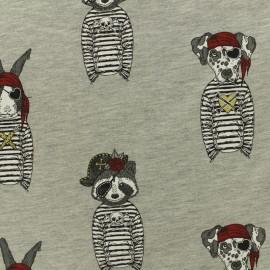Tissu Oeko-Tex coton sweat léger Stenzo animaux pirates - gris x 20cm