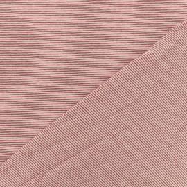 Tissu jersey rayé mini bateau - rouge  x 10cm