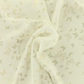 Tissu crêpe Chemisier papillon - blanc x 10 cm