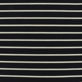Quilted Jersey Fabric navy stripes - white background x 10cm