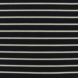 Tissu Jersey piqué rayures blanches - marine x 10cm