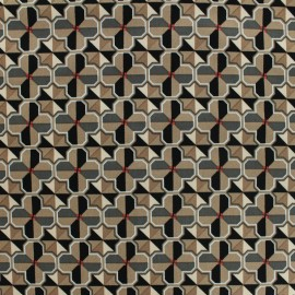 Satiny gabardine fabric Cement tiles by Penelope® - brown x 20cm