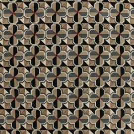 Tissu Gabardine satin Carreaux ciment by Penelope® - brun x 10cm