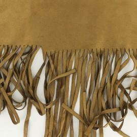 Tissu Suédine élasthanne aspect daim  à franges- camel x 10cm