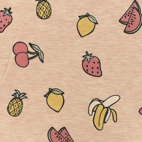 """Jersey fabric """"salade de fruit jolie jolie"""" glitter - pink x 10cm"""