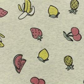 """Jersey fabric """"salade de fruit jolie jolie"""" glitter - chin ecru x 10cm"""