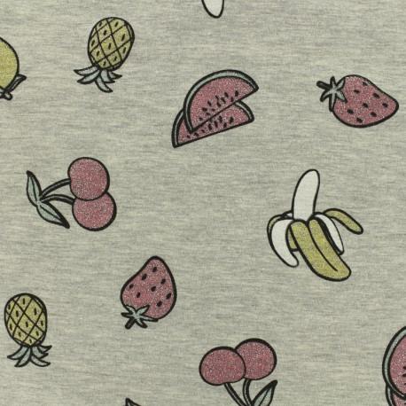 """Jersey fabric """"salade de fruit jolie jolie"""" glitter - chin grey x 10cm"""