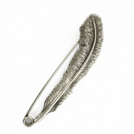 Feather kilt safety pin - ancient silver