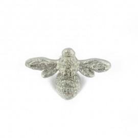 Bouton polyester Reine des abeilles - argent