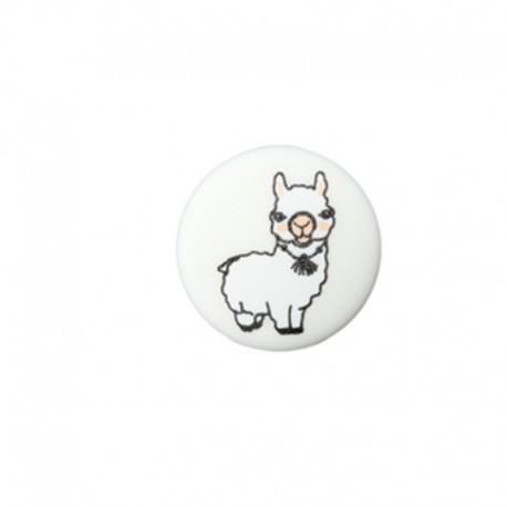 Bouton polyester Baby Lama 15 mm - blanc