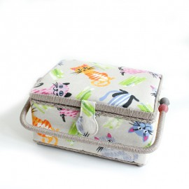 Sewing box size S - Cats - linnen