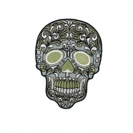 Skull flower iron-on patch -pink