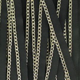 Ruban gros grain chaînette métal - noir/doré léger x 1m