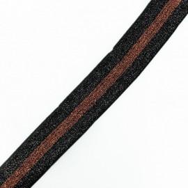Ruban élastique rayé lurex Disco (38 mm) - noir/marron x 1m
