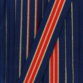 Ruban gros grain royal rayure - bleu/doré/rouge x 1m