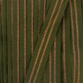 Ruban gros grain rayure 20 mm - kaki/cuivre x 1m