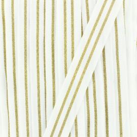 20 mm stripe grosgrain ribbon Maja - khaki/cooper x 1m