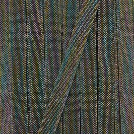 Ruban gros grain rayure Maja 20 mm - blanc/doré x 1m