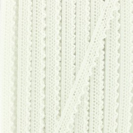 a110dd8b4731 Ruban dentelle aux fuseaux irisé Rosie 10mm - blanc x 1m
