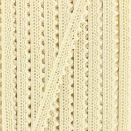 Ruban dentelle aux fuseaux irisé Rosie 10mm - beige x 1m