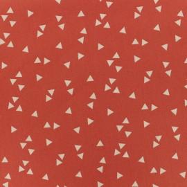 Tissu Oeko-Tex coton Poppy Triangle - blanc/corail x 10cm