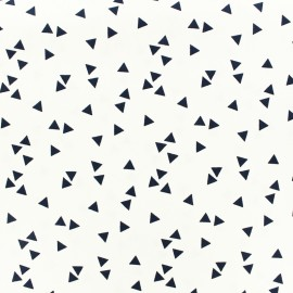 Cotton fabric Poppy Triangle - white/navy x 10cm