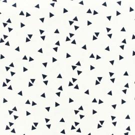 Tissu coton Poppy Triangle- blanc/bleu nuit x 10cm