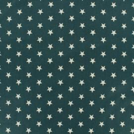 Oeko-Tex Poppy cotton Fabric white stars - euclyptus background x 10cm